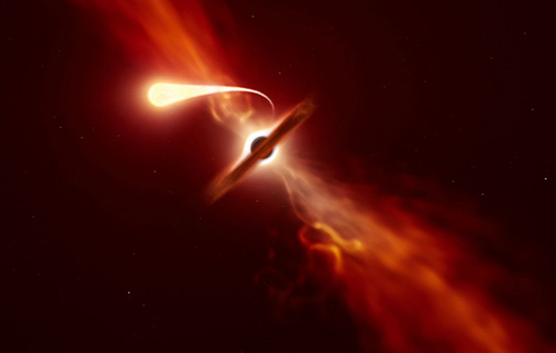 Черная дыра поглотила звезду, как спагетти
