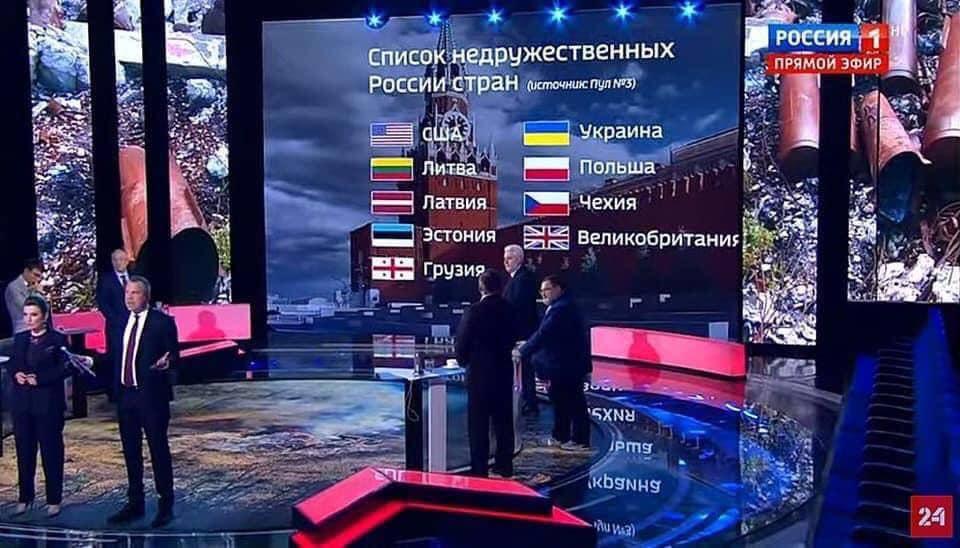Російські пропагандисти Попов і Скабєєва вивели на екран своєї помийної програми список недружніх до РФ Держав.Прямо G9! – Назар Приходько